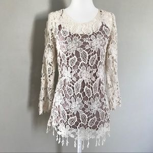2 for $15! Cream 3/4 Sleeve Lace Top